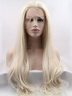 K'ryssma Platinum Blonde Glueless Synthetic Hair Lace Front Wigs Long Natural Straight Half Hand Tied Replacement Full Wig For Women Heat Friendly 24inch