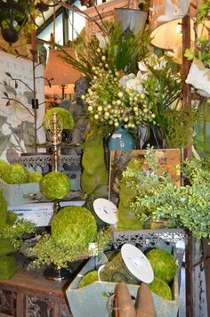 Moss-covered garden creatures are a fun accent!