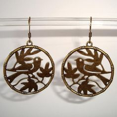 Shoply.com -Antique Gold Bronze Sparrow Bird in Tree Hoop Earrings Love Bird Earrings. Only C$4.95