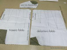 patrón falda trece pinzas