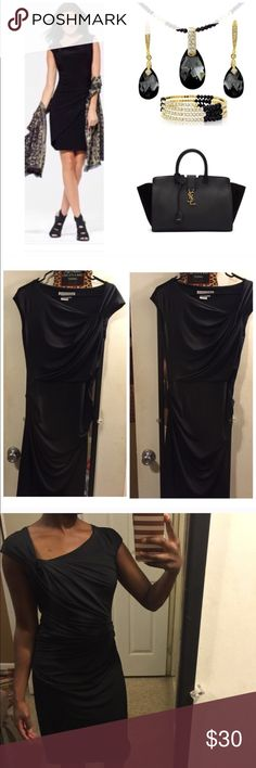 Black cocktail dress I wore this dress once. It's a little too big for me. Great condition. It stretches. Best fits a size Medium. Size 8          Tags: bebe, kate spade, betsey johnson, lauren conrad, jessica howard, anthropologie, alex marie, banana republic, jessica simpson, chicos, ann taylor loft, calvin klein, dior, marc jacobs, free people, theory, michael kors,  adrianna papell, vera wang, alice + olivia, bcbgmaxazria, nicole miller, elie tahari,  j. Crew, talbots, french connection…