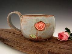 Single Rose Mug  Country Blue  Romantic by DirtKickerPottery pottery