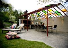 covered terrace Whilst ancient throughout principle, this pergola has become experiencing somewhat of a modern Outdoor Seating, Outdoor Spaces, Outdoor Living, Outdoor Decor, Timber Roof, Porch Area, Getaway Cabins, Roof Structure, Pergola Designs