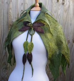 Cloaks Pagan Wicca Witch:  Elven Nuno Felted Green Leaf Cape, by folkowl.
