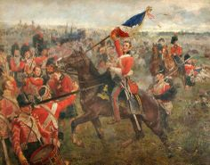 Capture of a French flag by British troops at Waterloo 1815.