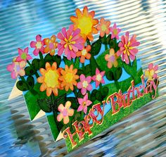 Stair step card - bright flowers