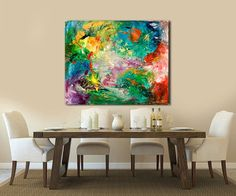 """Big Abstract Painting,Canvas Art,Gallery Art,home art,Painting Art,House Warming Gift,Wall Decor Gift,Hotel Art, Painting """"CELEBRATION"""""""
