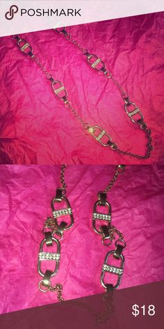 """Ann Taylor necklace Six big crystal studded links - 28"""" Long Ann Taylor Jewelry Necklaces"""