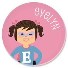 personalized childrens plate   superhero girl from sarah + abraham (http://www.sarahandabraham.com)