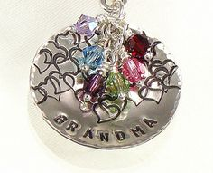 Metal stamped necklace for grandma or mom with different crystals as birthstones for each child