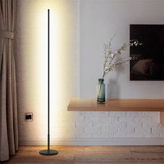 Nordic Minimalist LED Floor Lamps Standing Lamps Living Room Led Black/White Aluminum Standing Lamps Lamparas Decorate - All For House İdeas Black Floor Lamp, Led Floor Lamp, Modern Floor Lamps, Modern Lighting, Led Lamp, Cool Floor Lamps, Black Lamps, Lighting Ideas, Living Room Flooring