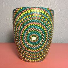 Mandala dot art painted mug