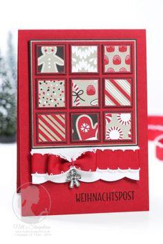 Nellis Stempeleien Weihnachtskarte mit Designerpapierresten Zuckerstangenzauber  Candy Cane, Stampin' UP!