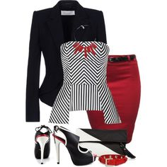 Black White and Red All Over, created by kajones722 on Polyvore