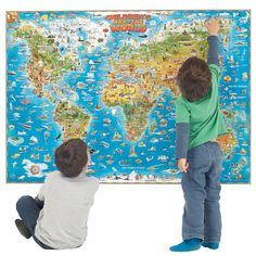 World map wall canvas height charts wall art bedding room childrens map of the world thats packed with fun and colourful illustrations that highlight famous landmarks gumiabroncs Choice Image