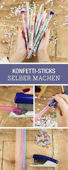 Bastel Deine Party-Dekoration einfach selber: DIY für Konfetti Sticks / diy party inspiration: craft confetti sticks as party props via DaWanda.com (Cool Crafts Creative)