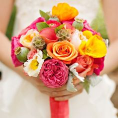 Love these wedding colors! Pink, yellow, and orange! This is totally an option now!