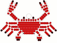 Crab Materials: 3 yards cord, ribbon or plastic lacing 1 lanyard hook or keyring 74 red pony beads 12 black pony beads