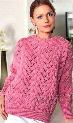 Как хорошо уметь вязать: Женский ажурный свитер вязаный спицами