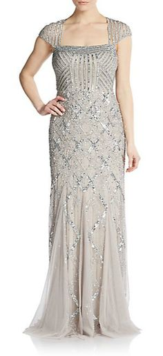 Adrianna Papell | Geometric Sequined Gown | SAKS OFF 5TH