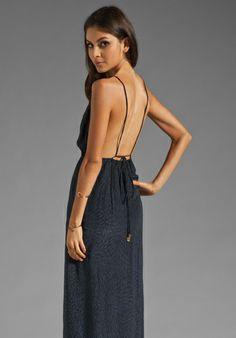 Indah River Split Front Wrap Side Evening Dress in Padi Black