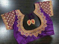 Heavy work bridal blouse from Ishithaa Design House ! Beautiful purple color designer blouse with hand embroidery kundan work. Ping s on 9884179863 to book an appointment. Wedding Saree Blouse Designs, Pattu Saree Blouse Designs, Blouse Designs Silk, Blouse Neck Designs, Blouse Patterns, Sleeve Designs, Hand Work Blouse Design, Simple Blouse Designs, Maggam Work Designs
