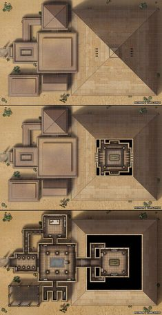 Tomb of Emun-Rah - A Three Level Pyramid and Entrance Halls! Pen And Paper Games, Pen & Paper, Dark Sun, Cartographers Guild, D20 Modern, Rpg Map, Building Map, Map Pictures, Dungeons And Dragons Homebrew