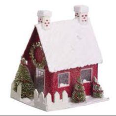 "Christmas Village House ""Two Chimneys"" Christmas Mantels, Christmas Paper, All Things Christmas, Christmas Home, Vintage Christmas, Christmas Crafts, Christmas Decorations, Christmas Ornaments, Holiday Decor"