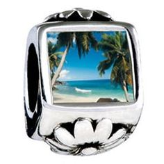 Tropical Beach Scene Photo Flower Charms Fit Pandora