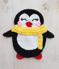 PURCHASED CROCHET pattern - Penguin Applique ~ size depends on hook and yarn used ~ adorable little chubby Crochet Animal Patterns, Applique Patterns, Stuffed Animal Patterns, Crochet Animals, Knitting Patterns, Crochet Penguin, Motifs D'appliques, Crochet Motifs, Free Crochet
