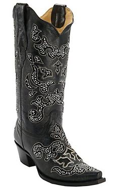 Corral® Women's Black w/ Crystal Inlay Snip Toe Western Boots | Cavender's Boot City $251.99