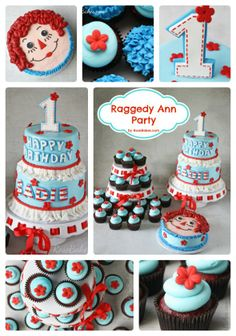 Raggedy Ann Party:  Raggedy Ann Cake, Smash Cake HOW SWEET!