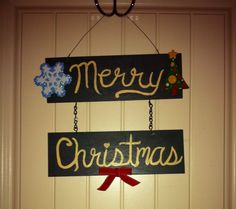 Christmas sign with crackle paint