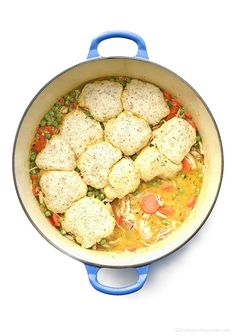 Chicken and Dumplings is the perfect classic comfort food. This easy rendition is made with roasted chicken and topped with tasty dill dumplings.