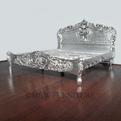 Antiqued Silver French Rococo King Bed - traditional - Beds - MBW Furniture