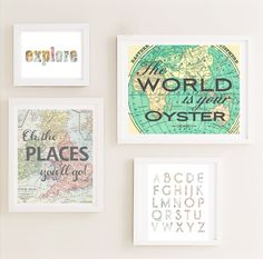 Printable - Gallery Nursery Wall Art Set, Map World Travel Theme Vintage Unique Nursery Children Kids Posters Art Decor instant download