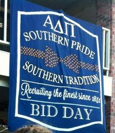 Sorry this isn't the best picture, but I LOVE this @Alpha Delta Pi #BidDay banner!