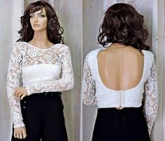 05ed329c40 Lace crop top   off white long sleeve crop top