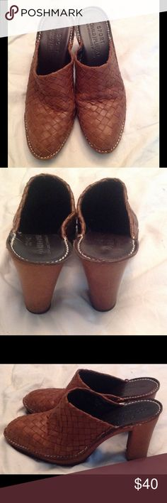 """Leather Woven Mules Beautiful woven leather mules with white stitching. Open back slip on style. Approximately 3.5"""" heel. Approximately .5"""" platform. Lug sole. Donald J. Pliner Shoes Mules & Clogs"""