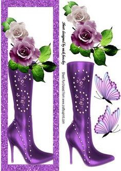 Pretty cream lilac roses on high heeled boot DL on Craftsuprint - Add To Basket!