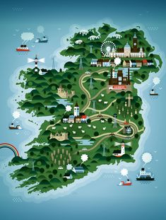 Saved by Vanin (alvan). Discover more of the best Ireland, Illustration, Mag, Tourism, and Weekend inspiration on Designspiration Famous Castles, Map Design, Graphic Design, Vintage Travel Posters, Ireland Travel, Tourism Ireland, Oh The Places You'll Go, Dream Vacations, Dublin