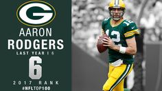 6: Aaron Rodgers (QB, Packers) | Top 100 Players of 2017 | NFL ... Green Bay Packers Quarterbacks, Aaron Rodgers, The 100, Nfl, Baseball Cards, Sports, Tops, Hs Sports, Excercise