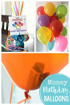 Fun Money Gift Ideas-Fill balloons with dollar bills (or more) and add this cute birthday gift tag to make a very fun birthday gift and a great way to give money.