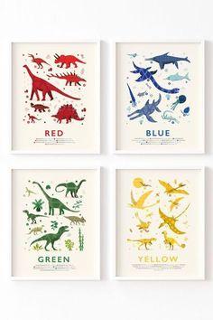 Learn All the colours with these gorgeous dinosaur prints.  #dinosaurtheme #nurserywallart   #modernnursery Dinosaur Prints, Dinosaur Alphabet, Dinosaur Nursery, Room Themes, Nursery Themes, Nursery Prints, Nursery Wall Art, Fun Illustration, Baby Decor