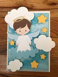 Items similar to Baptism invitation on Etsy Boy Baptism Outfit, Baby Boy Baptism, Baptism Party, Baby Boy Shower, Baptism Invitation For Boys, Baptism Invitations, Xmas Crafts, Crafts For Kids, Paper Crafts