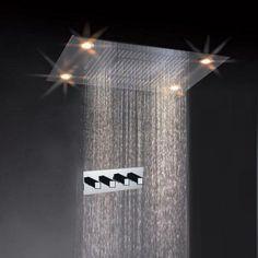 "31"" Large Rain LED Shower Set Faucet Double Waterfall Shower Super Shower Heads - Shower Panels & Massagers"
