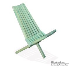 GloDea Eco-friendly Assembled Foldable Beach Chair (Alligator green), Patio Furniture (Pine)