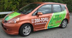 A partial car wrap for My Veggie Chef Honda Fit: 12 Point SignWorks
