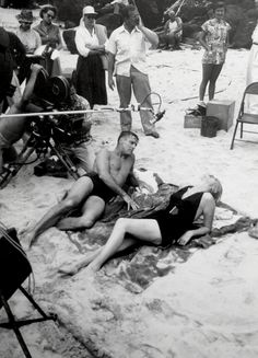 Burt Lancaster and Deborah Kerr on the set of 'From Here to Eternity', 1953.