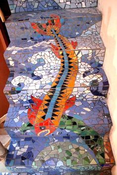 Mayan Beach Garden - Beach front boutique hotel near Mahahual, Mexico. Mosaic Diy, Mosaic Glass, Mosaic Tiles, Stained Glass, Mosaic Stairs, Mosaic Walkway, Stairway Art, Stairway To Heaven, Cottage Style Furniture